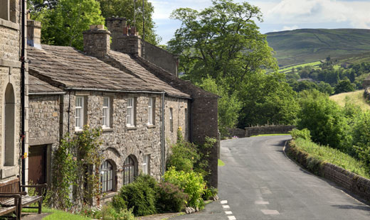 Yorkshire stone-built cottages set in Swaledale
